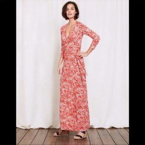 Boden Jersey Red White Maxi Wrap Dress 3/4 Sleeve